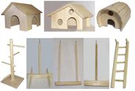 Деревянные домики, игрушки, лесенки для грызунов и птиц
